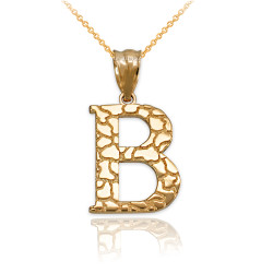 """Yellow Gold Nugget Initial Letter """"B"""" Pendant Necklace"""