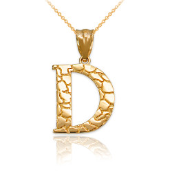 """Yellow Gold Nugget Initial Letter """"D"""" Pendant Necklace"""