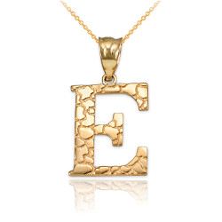 """Yellow Gold Nugget Initial Letter """"E"""" Pendant Necklace"""