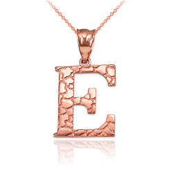 """Rose Gold Nugget Initial Letter """"E"""" Pendant Necklace"""