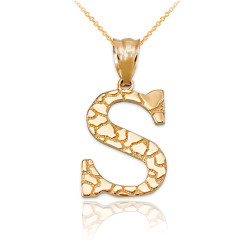 """Yellow Gold Nugget Initial Letter """"S"""" Pendant Necklace"""