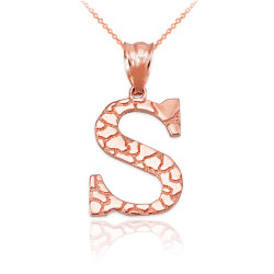 """Rose Gold Nugget Initial Letter """"S"""" Pendant Necklace"""