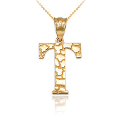 """Yellow Gold Nugget Initial Letter """"T"""" Pendant Necklace"""
