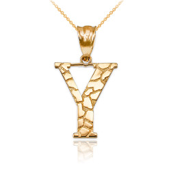 """Yellow Gold Nugget Initial Letter """"Y"""" Pendant Necklace"""