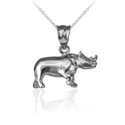 Polished Sterling Silver Rhino Charm Necklace