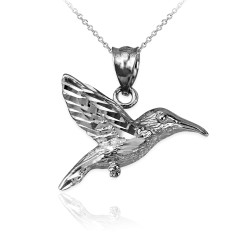 Sterling Silver Hummingbird DC Charm Necklace