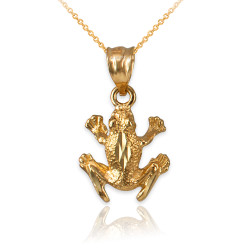 Yellow Gold Textured DC Frog Charm Necklace