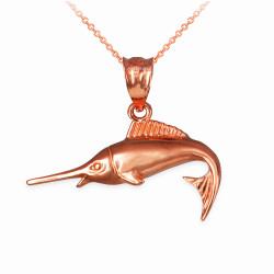 Rose Gold Marlin Fish Charm Necklace