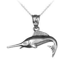 Sterling Silver Marlin Fish Charm Necklace