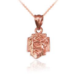 Rose Gold Tiny Jesus Face Cross DC Charm Necklace
