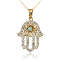 Diamond Studded Gold Filigree White Opal Hamsa Charm Necklace