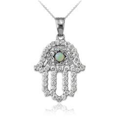 Diamond Studded White Gold Filigree White Opal Hamsa Charm Necklace