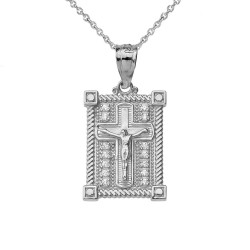 White Gold Diamond Boxed Cross Charm Necklace