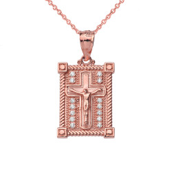 Rose Gold Diamond Boxed Cross Charm Necklace