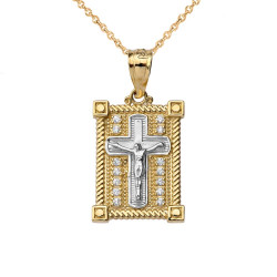Two-Tone Yellow and White Gold Diamond Boxed Cross Charm Necklace