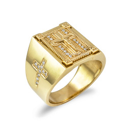 Solid Yellow Gold Diamond Cross Boxed Crucifix Mens Statement Ring