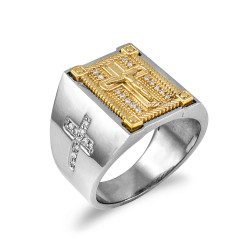 Two-Tone White Gold Diamond Cross Yellow Boxed Crucifix Mens Ring