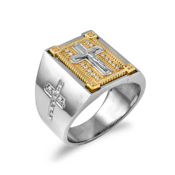 Two-Tone White Gold Diamond Cross Yellow Boxed White Crucifix Ring