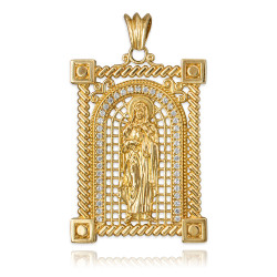 Yellow Gold Filigree Guadalupe Sacred Heart of Jesus Diamond Pendant