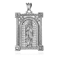 White Gold Filigree Guadalupe Sacred Heart of Jesus Diamond Pendant