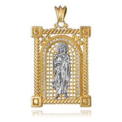 Two-Tone Yellow Gold Filigree Guadalupe Sacred Heart of Jesus Diamond Pendant