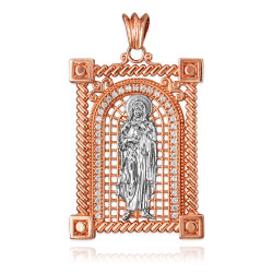 Two-Tone Rose Gold Filigree Guadalupe Sacred Heart of Jesus CZ Iced Pendant