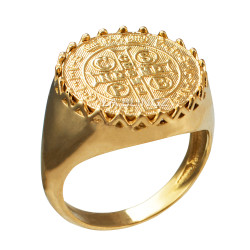 Solid Yellow Gold Saint Benedict Medal Mens Ring