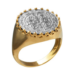 Solid Two-Tone Yellow Gold Saint Benedict White Medal Mens Ring