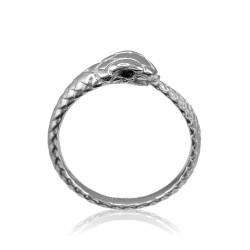 Sterling Silver Ouroboros Snake Ladies Black Diamond Ring