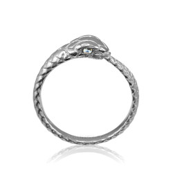 Sterling Silver Ouroboros Snake Ladies Diamond Ring