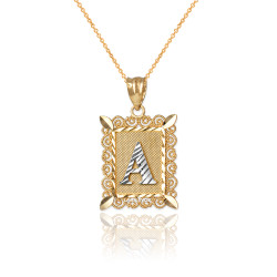 "Two-tone Gold Filigree Alphabet Initial Letter ""A"" DC Charm Necklace"