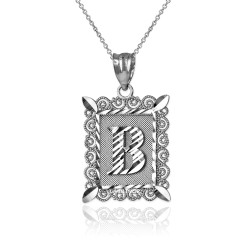 "White Gold Filigree Alphabet Initial Letter ""B"" DC Pendant Necklace"