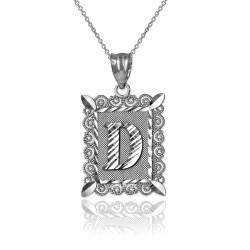 "Sterling Silver Filigree Alphabet Initial Letter ""D"" DC Pendant Necklace"