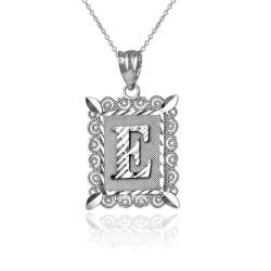 "White Gold Filigree Alphabet Initial Letter ""E"" DC Pendant Necklace"