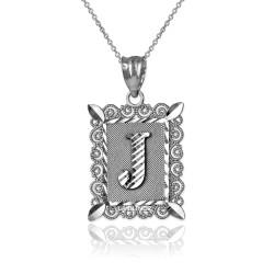 "Sterling Silver Filigree Alphabet Initial Letter ""J"" DC Pendant Necklace"
