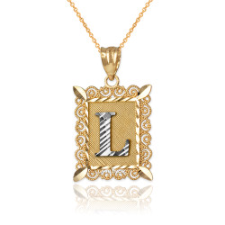 "Two-tone Gold Filigree Alphabet Initial Letter ""L"" DC Pendant Necklace"