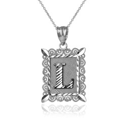 "White Gold Filigree Alphabet Initial Letter ""L"" DC Pendant Necklace"