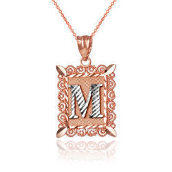 """Two-tone Rose Gold Filigree Alphabet Initial Letter """"M"""" DC Pendant Necklace"""