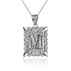 "Sterling Silver Filigree Alphabet Initial Letter ""M"" DC Pendant Necklace"
