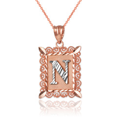 """Two-tone Rose Gold Filigree Alphabet Initial Letter """"N"""" DC Pendant Necklace"""