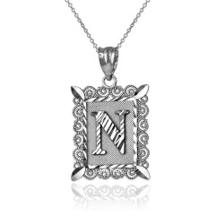 """Sterling Silver Filigree Alphabet Initial Letter """"N"""" DC Pendant Necklace"""