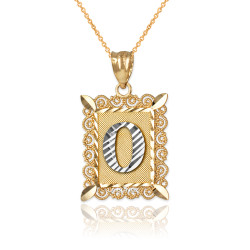 "Two-tone Gold Filigree Alphabet Initial Letter ""O"" DC Pendant Necklace"