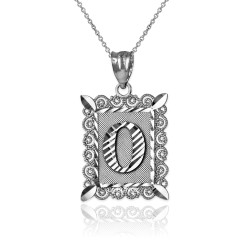 """Sterling Silver Filigree Alphabet Initial Letter """"O"""" DC Pendant Necklace"""