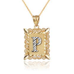 "Two-tone Gold Filigree Alphabet Initial Letter ""P"" DC Pendant Necklace"