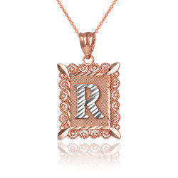 """Two-tone Rose Gold Filigree Alphabet Initial Letter """"R"""" DC Pendant Necklace"""