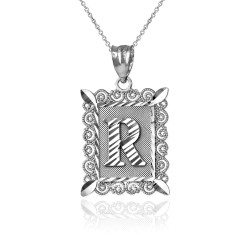 """Sterling Silver Filigree Alphabet Initial Letter """"R"""" DC Pendant Necklace"""