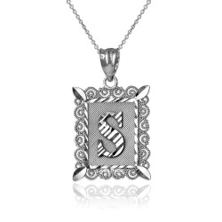 """Sterling Silver Filigree Alphabet Initial Letter """"S"""" DC Pendant Necklace"""