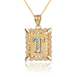 "Two-tone Gold Filigree Alphabet Initial Letter ""T"" DC Pendant Necklace"