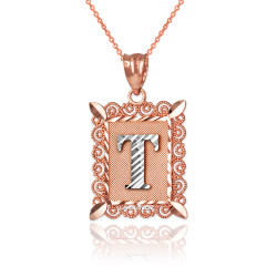 """Two-tone Rose Gold Filigree Alphabet Initial Letter """"T"""" DC Pendant Necklace"""