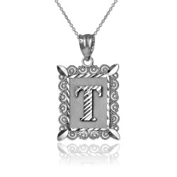 "White Gold Filigree Alphabet Initial Letter ""T"" DC Pendant Necklace"